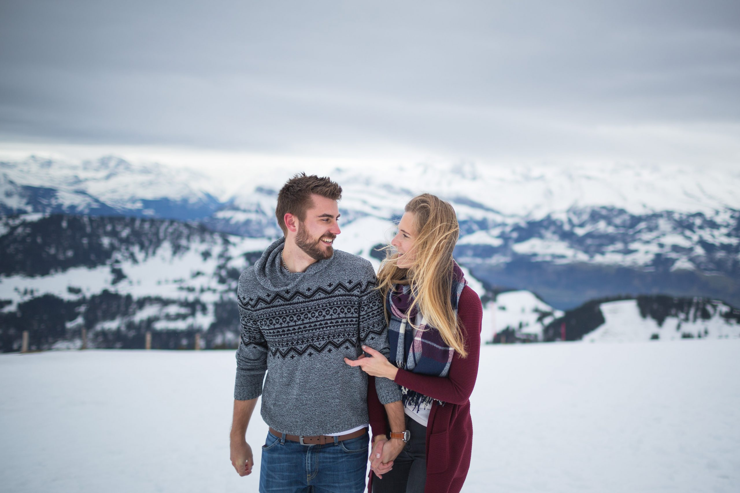 engagement couple session in Switzerland mountains alps